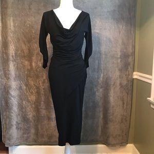 Donna Karan Black Label Black Draped Midi Dress L